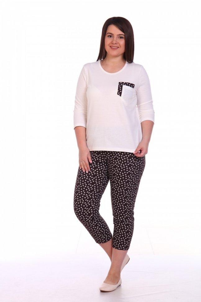 Пижама трикотажная Кэрита (бело-коричневая) фото