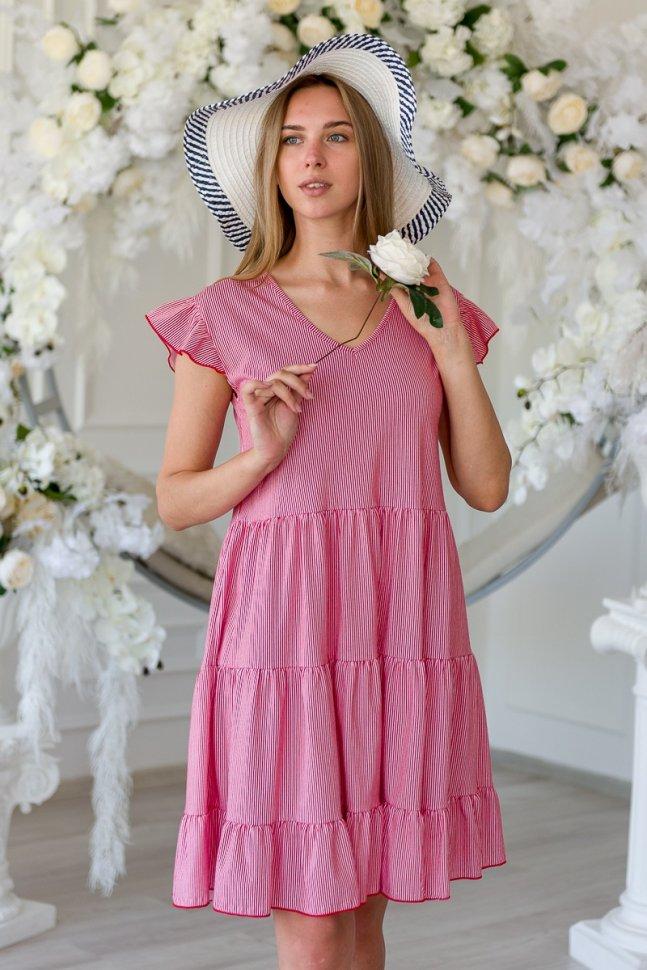 Платье трикотажное Лючана (красно-белая полоса)