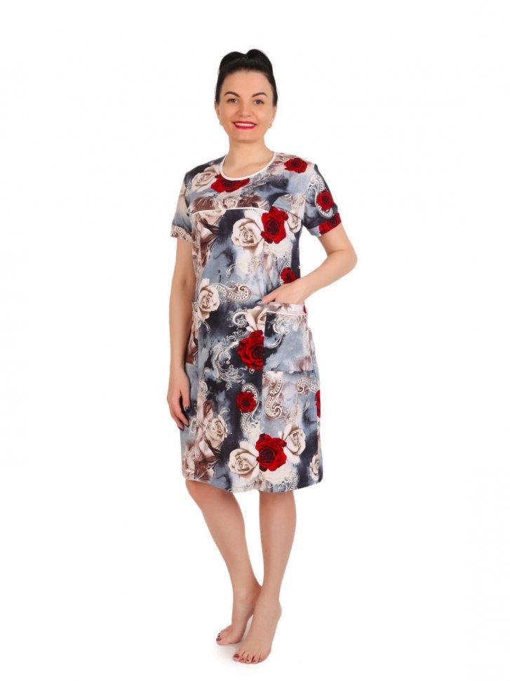 Платье трикотажное Павла (розы) фото