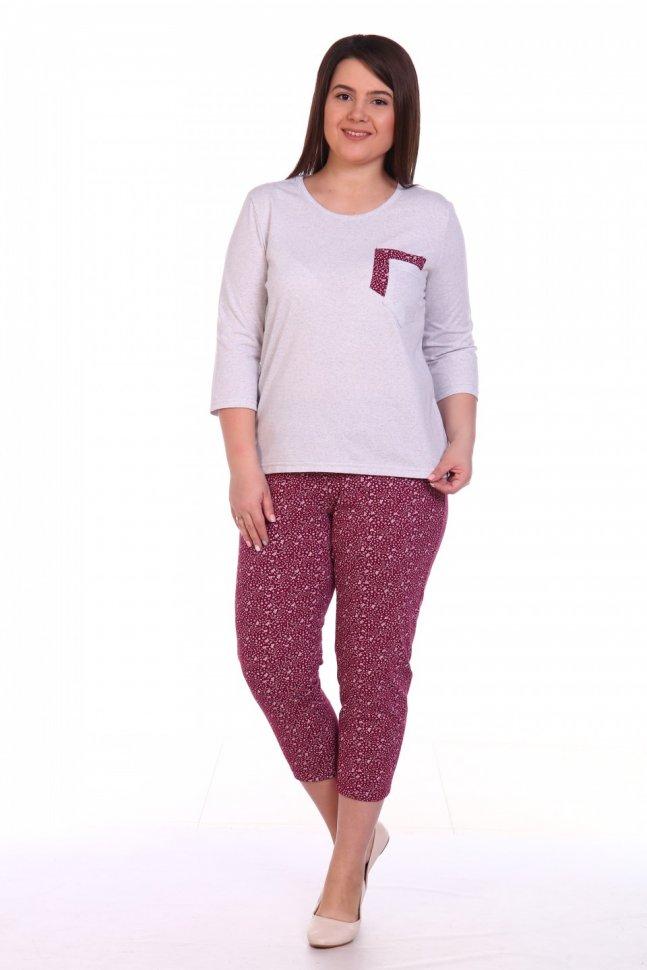 Пижама трикотажная Кэрита (серо-бордовая) фото