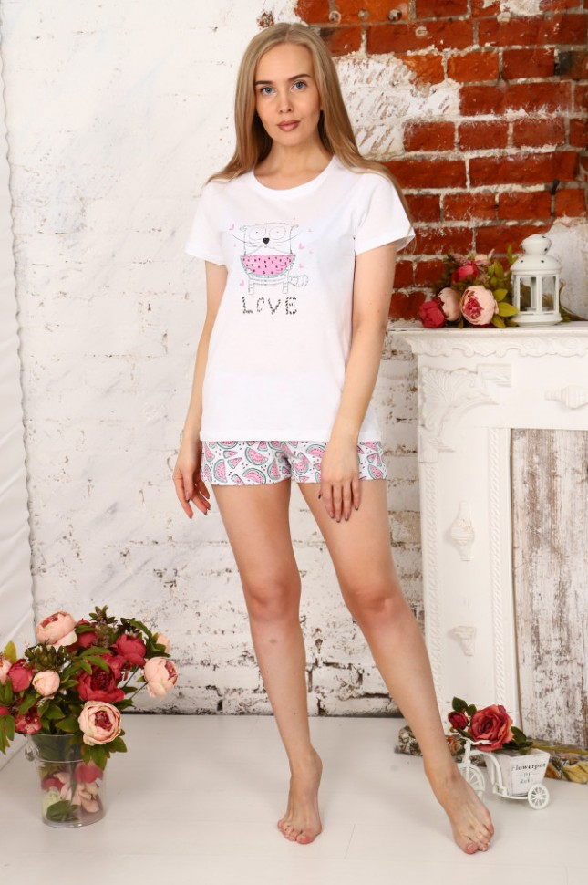 Пижама трикотажная Марья (белая) фото