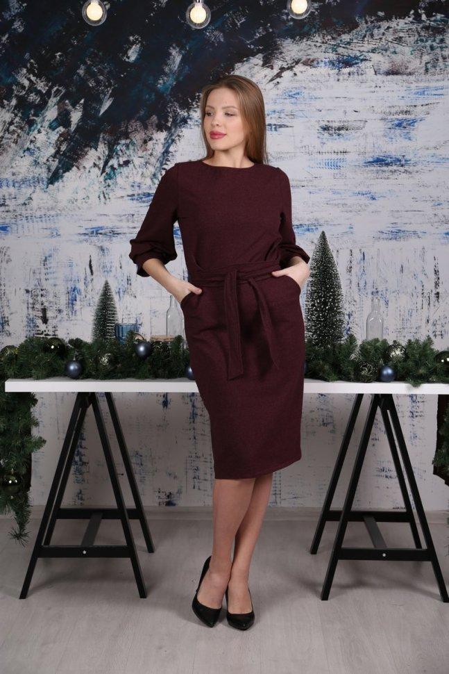 Платье трикотажное Кларити (бордовое) фото