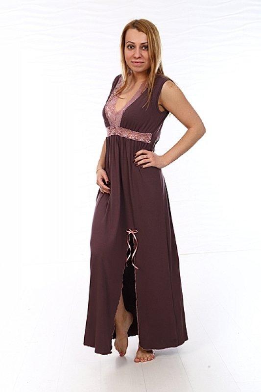 Ночная сорочка Дориан (коричневая) фото
