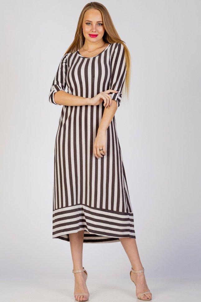 Платье трикотажное Асдис (коричневая полоса) фото