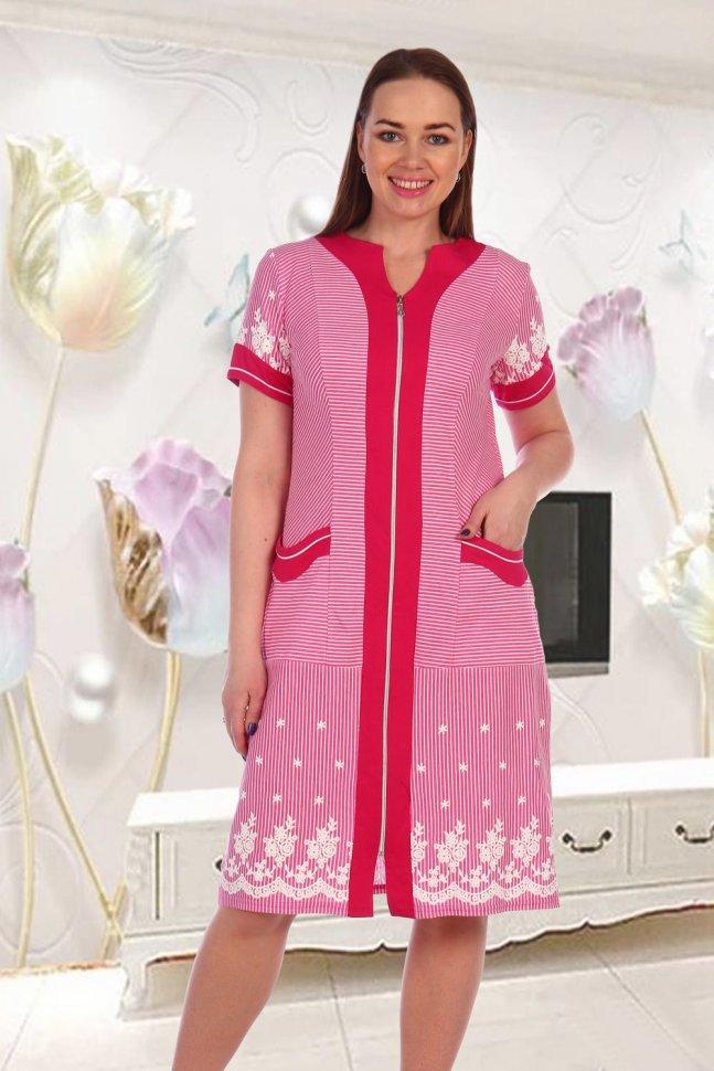 Халат трикотажный Рэйн (розовый) фото