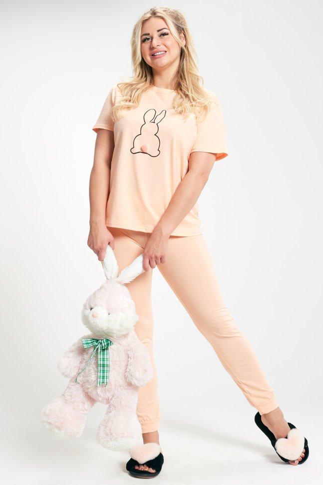 Пижама трикотажная Бидди (персиковая) фото