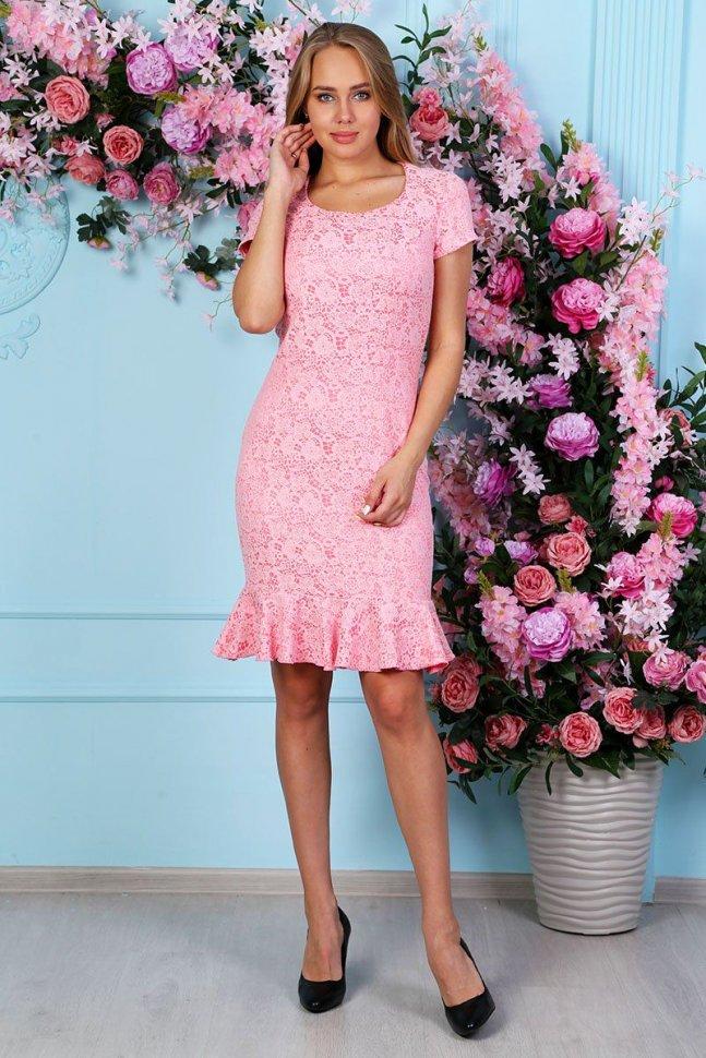 Платье трикотажное Сьюзан (розовое) фото