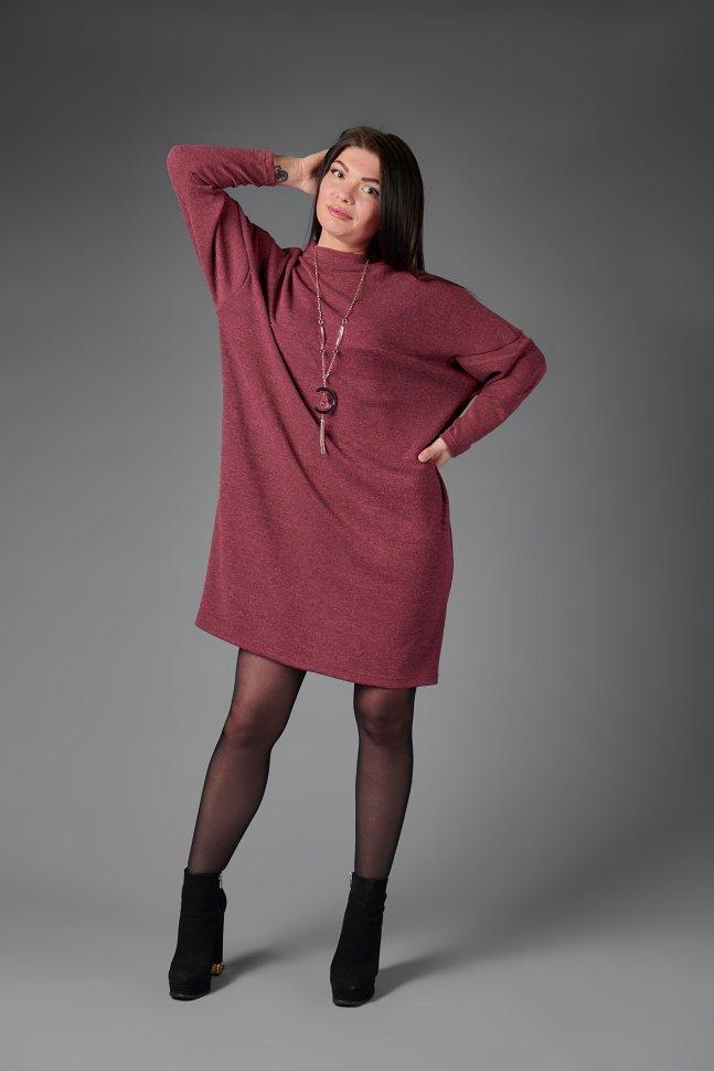 Платье из ангоры Лотос (бордовое) фото