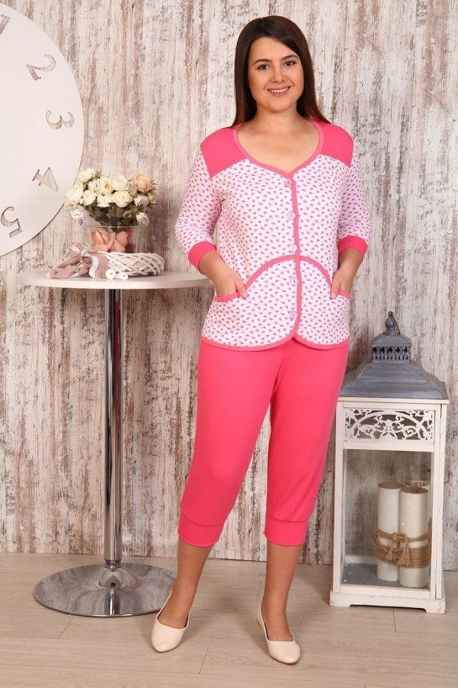 Пижама трикотажная Элла (розовая) фото