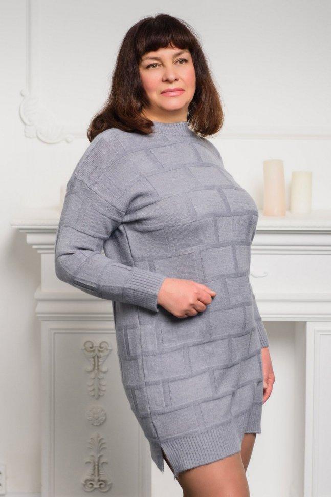 Платье трикотажное Селина (серое)