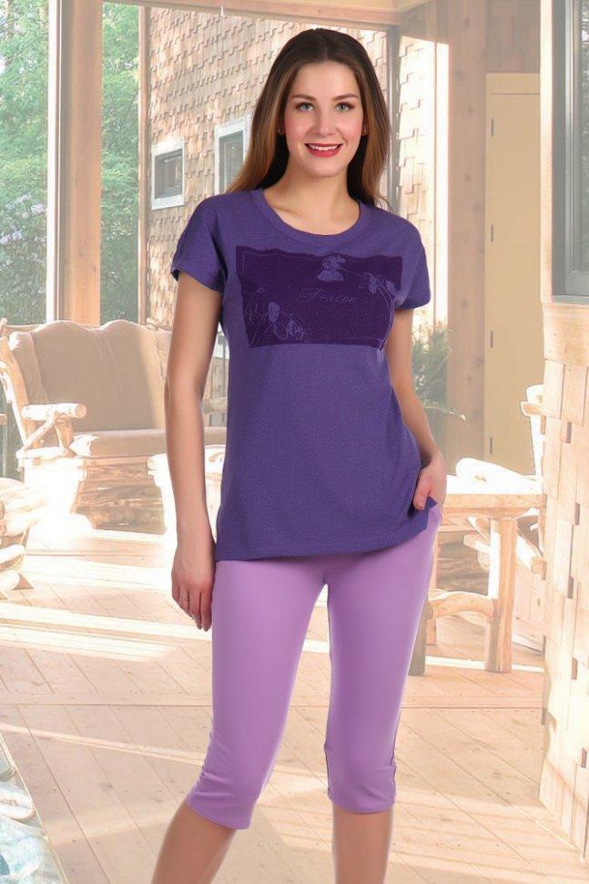 Костюм трикотажный Теона (сиреневый)Костюмы<br><br>Цвет: Фиолетовый; Размер RU: 44, 46, 48, 50, 52, 54;
