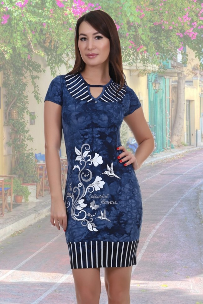 Платье вискозное ТэрриПлатья<br><br>Цвет: Синий; Размер RU: 42, 44, 46, 48, 50, 52;