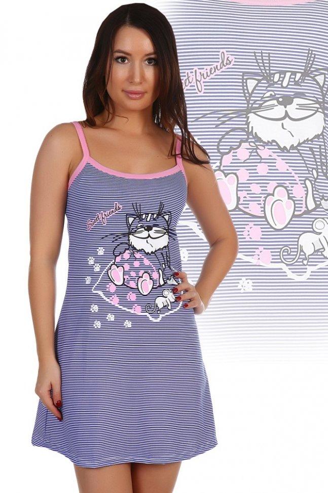 Ночная сорочка ЛеслиНочные сорочки<br><br>Цвет : Синий; Размер : 42, 44, 46, 48, 50, 52;
