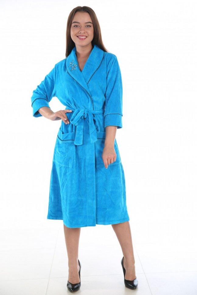 Халат велюровый Линда (голубой) халат велюровый линда голубой