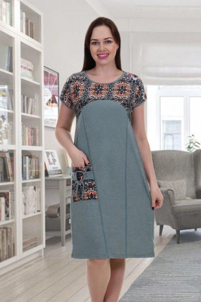 Платье трикотажное ОливетПлатья<br><br>Цвет: Зеленый; Размер RU: 48, 50, 52, 54, 56, 58, 60, 62, 64;
