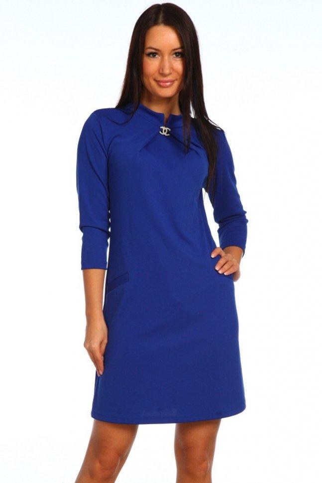 Платье трикотажное Виа (синее)Платья<br><br>Цвет: Синий; Размер RU: 56;