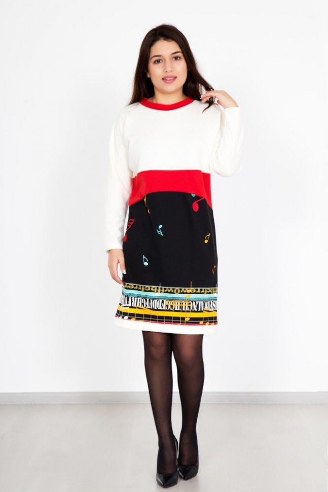 Платье трикотажное НотыПлатья<br><br>Цвет: Белый, Черный; Размер RU: 48, 50, 52, 54, 56, 58;