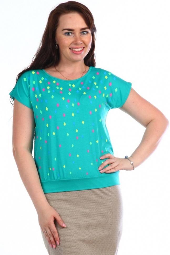 Блуза трикотажная Льдинка (изумрудная)