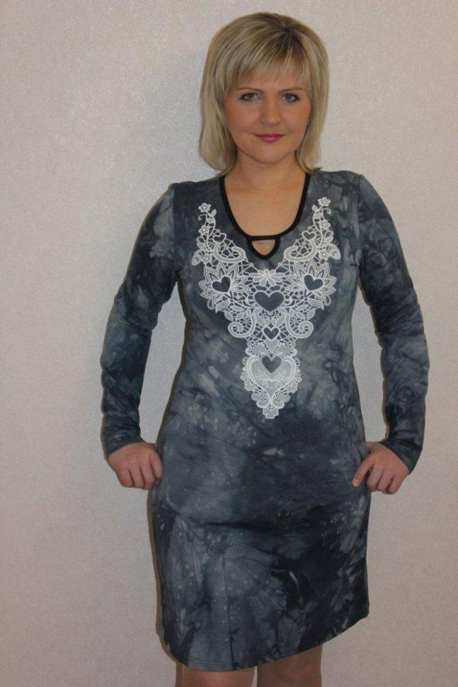 Платье трикотажное Лекси (серое)Платья<br><br>Цвет: Серый; Размер RU: 46, 48, 50, 52, 54, 56, 58, 60;