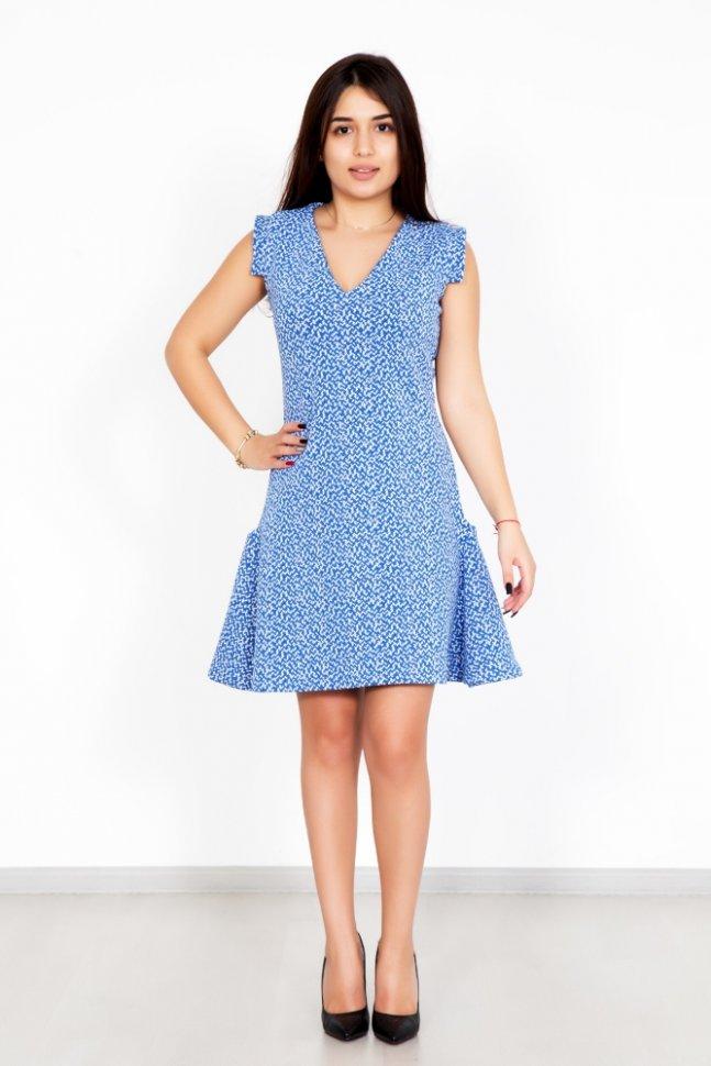 Платье трикотажное ИдаПлатья<br><br>Цвет : Голубой; Размер : 40, 42, 44, 46, 48, 50, 52;