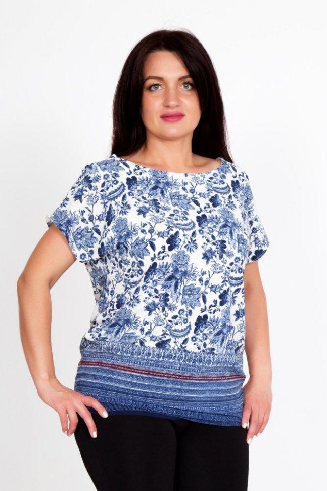 Блуза трикотажная МароккоБлузки и рубашки<br><br>Цвет: Голубой; Размер RU: 44, 46, 48, 50, 52, 54;