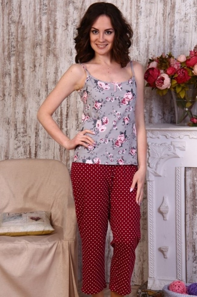 Пижама трикотажная ГреттаПижамы<br><br>Цвет: Серый, Красный; Размер RU: 44, 46, 48, 50;