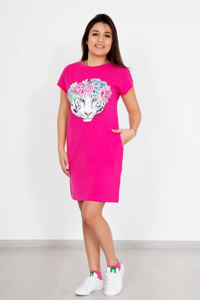 Платье трикотажное ЭльвираПлатья<br><br>Цвет: Розовый; Размер RU: 44, 46, 48, 50, 52, 54;