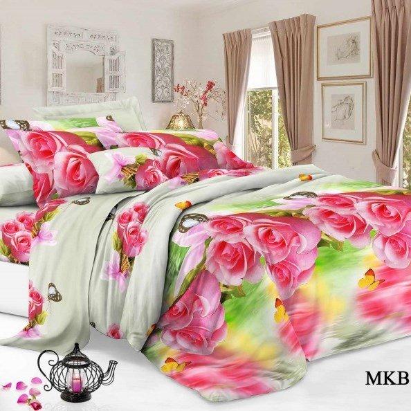 Пододеяльник из бязи 2-спальный Розовые розыПододеяльники<br><br>