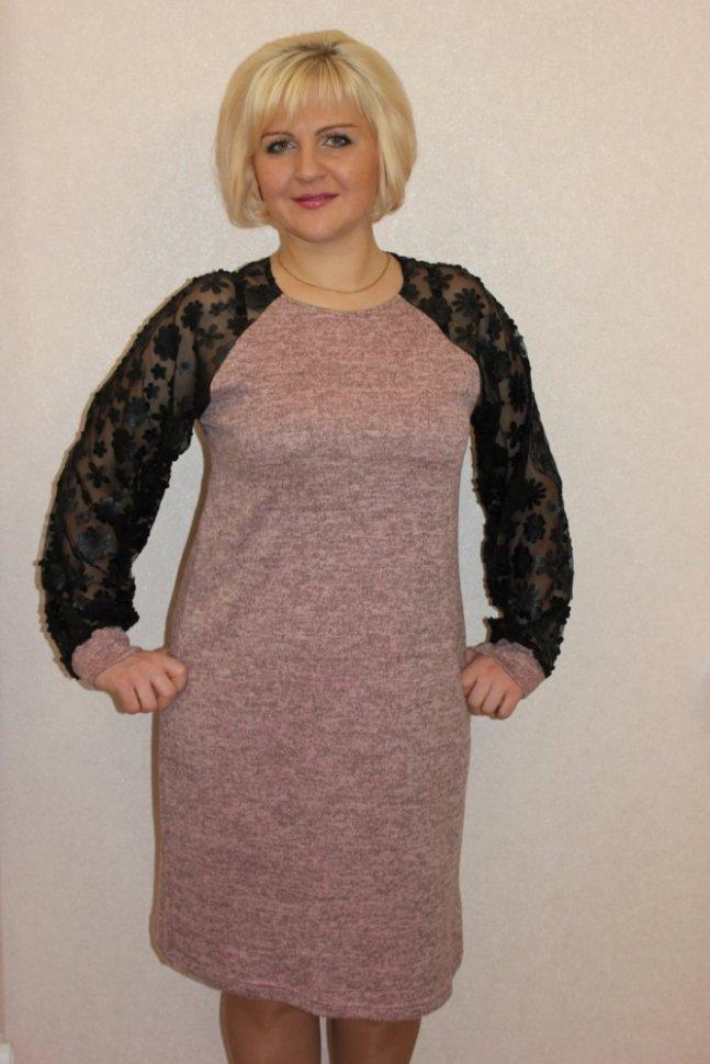 Платье трикотажное Тера (серо-розовое)Платья<br><br>Цвет: Черный, Розовый; Размер RU: 48, 50, 52, 54, 56, 58;
