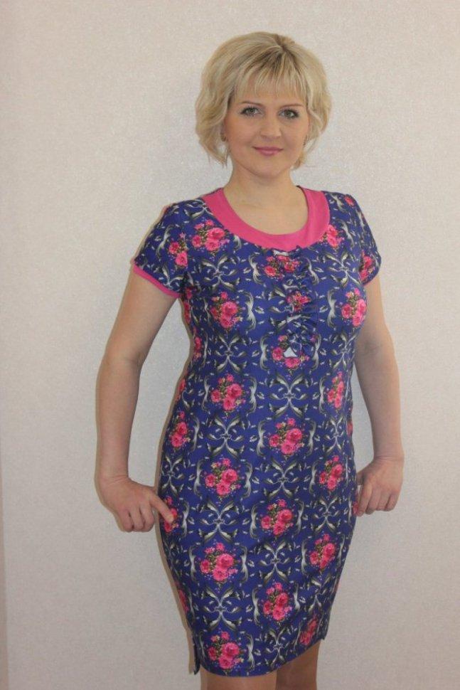 Платье трикотажное ПенниПлатья<br><br>Цвет : Розовый, Синий; Размер : 46, 48, 50, 52, 54, 56, 58, 60;