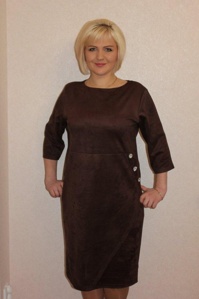 Платье трикотажное Хезер (коричневое)Платья<br><br>Цвет: Коричневый; Размер RU: 46, 48, 50, 52, 54, 56;