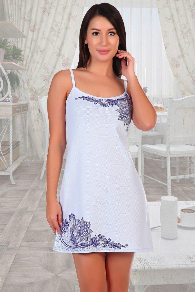 Ночная сорочка Кружева (голубая)Ночные сорочки<br><br>Цвет: Голубой; Размер RU: 42, 44, 46, 48, 50, 52;