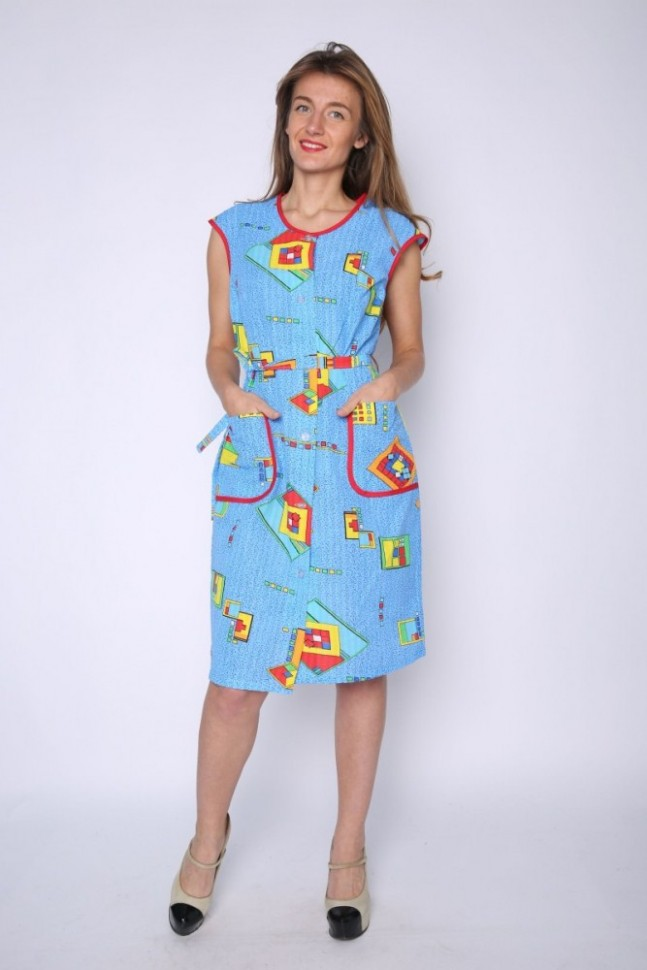 Халат трикотажный Лоресса (голубой)Халаты<br><br>Цвет: Голубой; Размер RU: 44, 46, 48, 50, 52, 54, 56, 58, 60, 62;