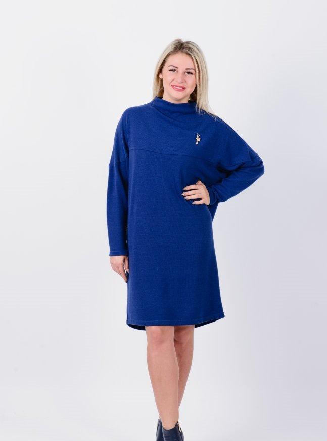 Платье трикотажное Лотос (синее)Платья<br><br>Цвет: Синий; Размер RU: 48, 50, 52, 54, 56;