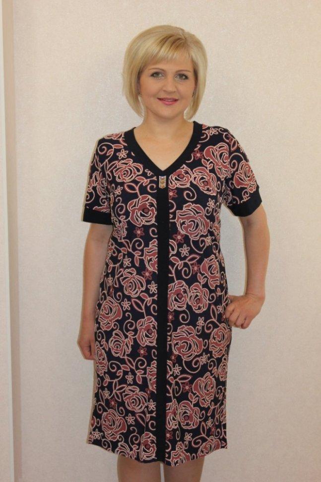 Платье трикотажное ПетаПлатья<br><br>Цвет: Черный, Коричневый; Размер RU: 50, 52, 54, 56, 58, 60;
