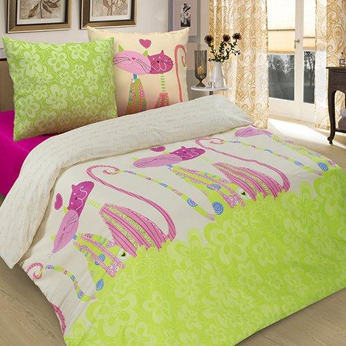 Комплект из бязи 2-спальный КошкиБязь<br><br>Цвет: Розовый, Зеленый, Бежевый;