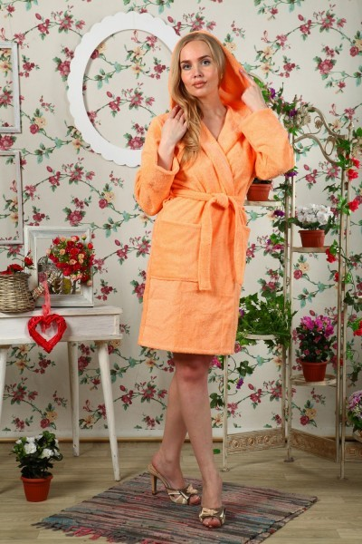 Халат махровый Луанна (персиковый)Халаты<br><br>Цвет: Оранжевый; Размер RU: 42, 44, 46, 48, 50, 52;