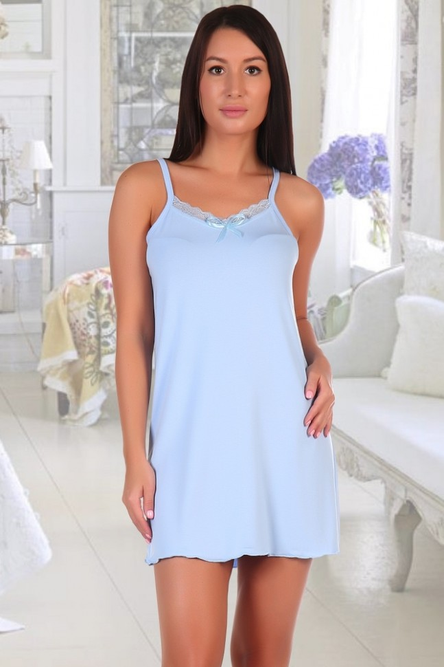 Ночная сорочка Пассаж (голубая)Ночные сорочки<br><br>Цвет: Голубой; Размер RU: 42, 44, 46, 48, 50, 52, 54, 56;