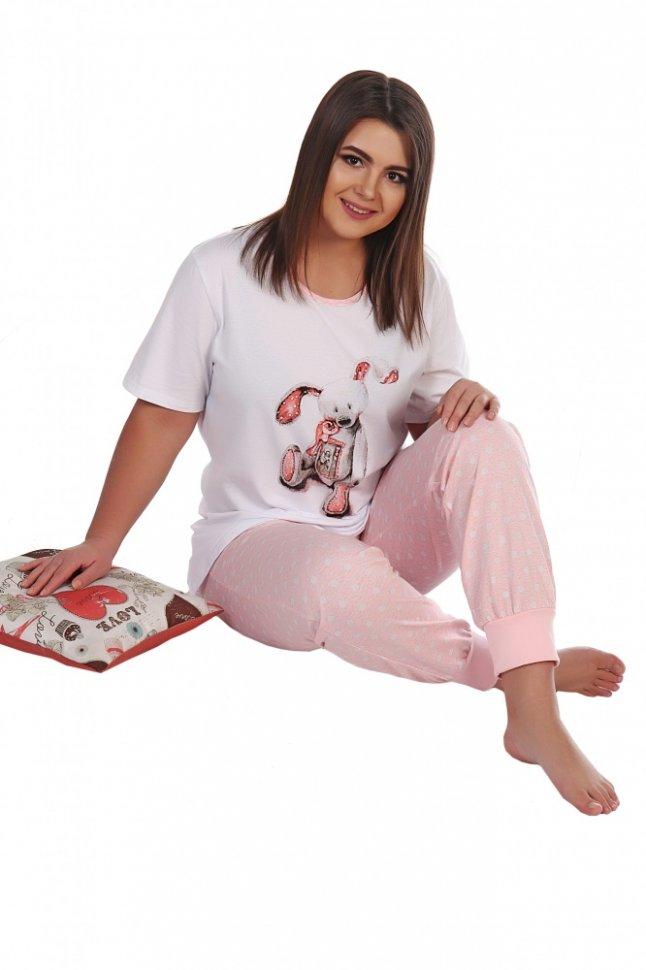 Пижама трикотажная Элена (розовая)Пижамы<br><br>Цвет: Белый, Розовый; Размер RU: 46, 48, 50, 52, 54, 56;