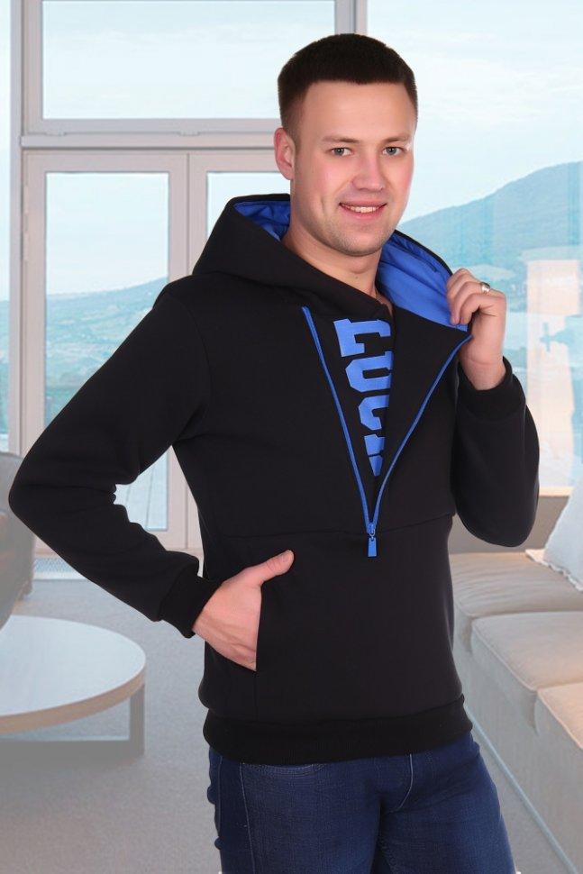 Толстовка мужская ДиджейТолстовки<br><br>Цвет: Синий; Размер RU: 48, 50, 52, 54, 56, 58;