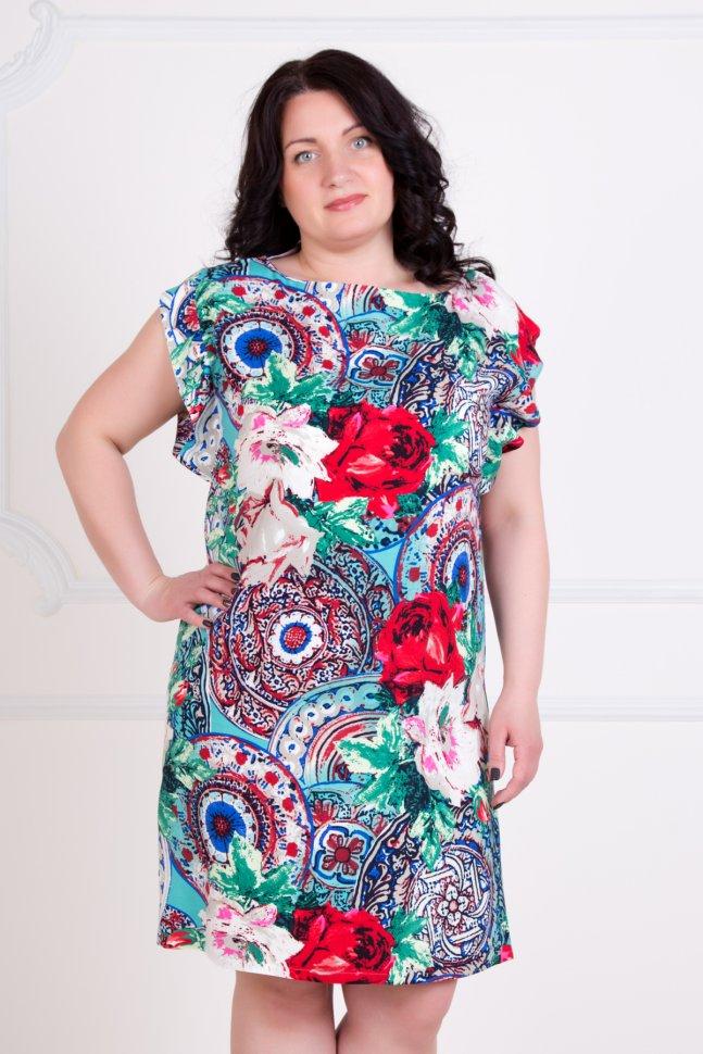 Платье трикотажное ИндиПлатья<br><br>Цвет: Белый, Красный, Зеленый, Мульти; Размер RU: 44, 46, 48, 50, 52, 54;