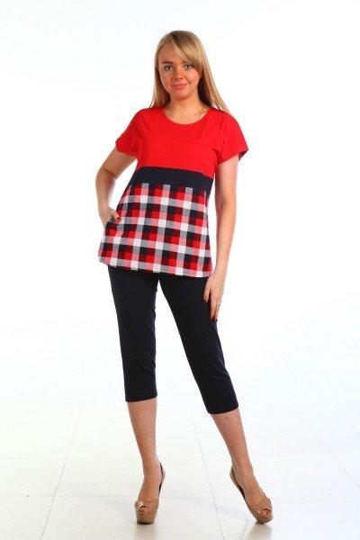 Костюм трикотажный Лекси (красный)Костюмы<br><br>Цвет: Черный, Красный; Размер RU: 46, 48, 50, 52, 54, 56, 58, 60;