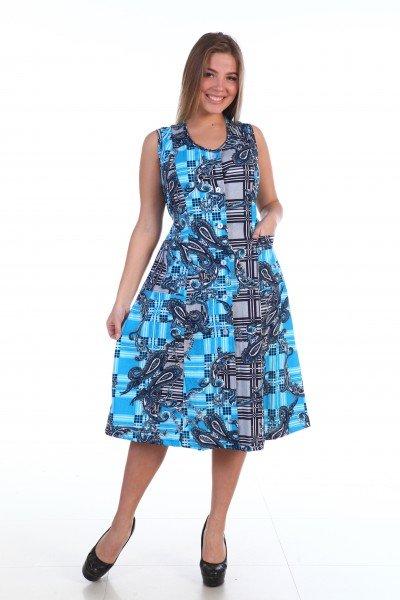 Сарафан трикотажный Асиа (бирюзовый)Сарафаны<br><br>Цвет : Голубой; Размер : 50, 52, 54, 56, 58, 60;