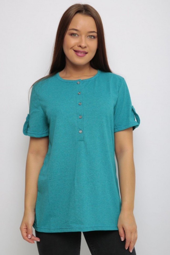Блуза трикотажная Нола (бирюзовая)