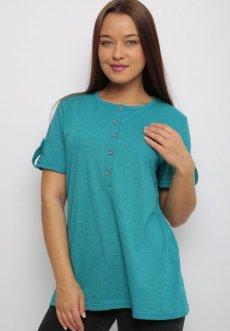 Женская трикотажная блузка Нола (бирюзовая)