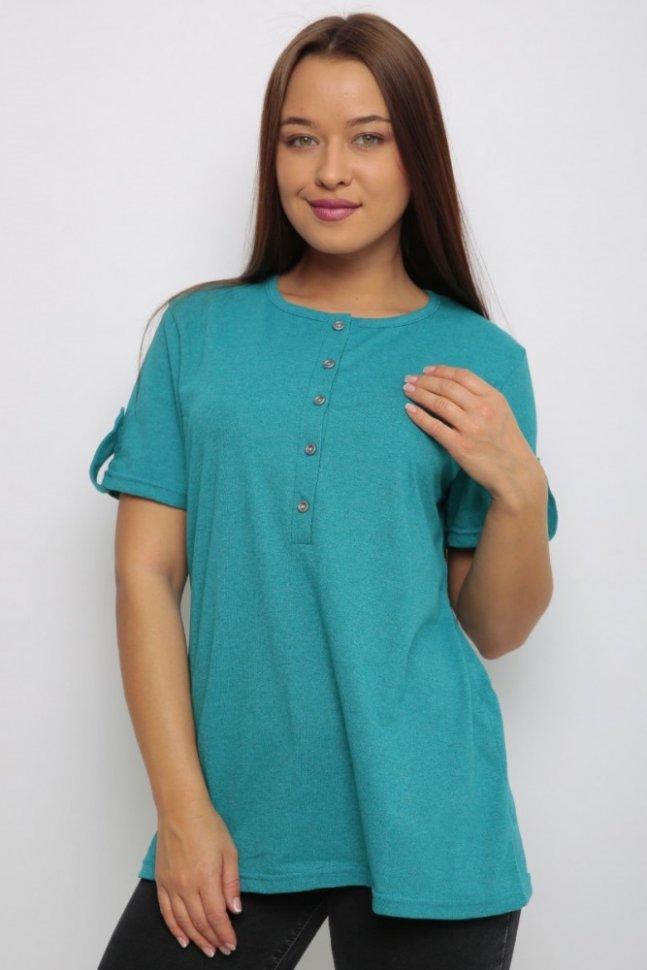 Блуза трикотажная Нола (бирюзовая)Блузки и рубашки<br><br>Цвет: Голубой; Размер RU: 46, 48, 50, 52, 54, 56;