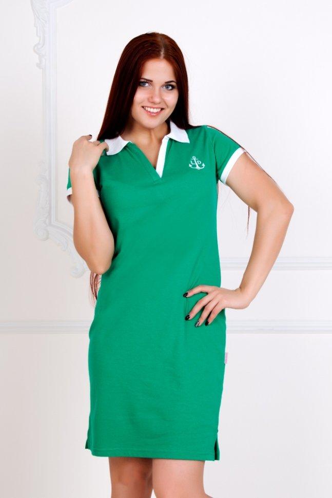 Платье трикотажное Поло (зеленое)Платья<br><br>Цвет: Белый, Зеленый; Размер RU: 40, 42, 44, 46, 48, 50, 52, 54;