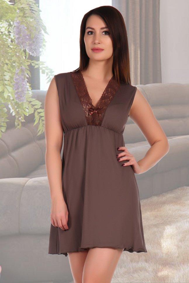 Ночная сорочка Мэри (кофейная)Ночные сорочки<br><br>Цвет: Коричневый; Размер RU: 44, 46, 48, 50, 52, 54, 56, 58;