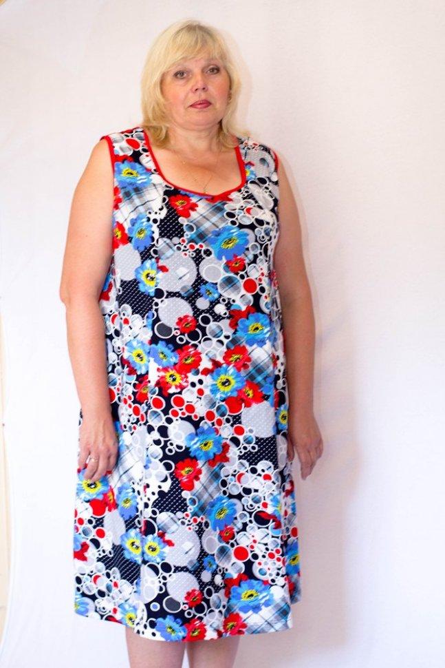 Платье трикотажное МакиПлатья<br><br>Цвет: Белый, Красный, Голубой, Мульти; Размер RU: 62, 64, 66, 68, 70, 72;