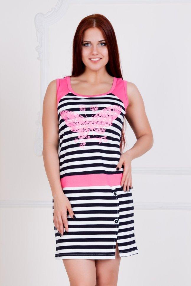 Платье трикотажное Виолетта (розовое)Платья<br><br>Цвет: Белый, Розовый, Синий; Размер RU: 42, 44, 46, 48, 50, 52, 54;